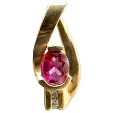 Vintage Estate 14k Gold Raspberry Pink Tourmaline Diamond Omega Slide Pendant for Necklace