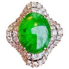 Vintage Estate 14k Gold Diamond Jade Necklace Pendant
