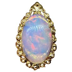 Stunning Large Vintage 14k Gold Jelly Ethiopian Opal Gold Necklace Pendant