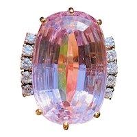 Vintage 14k White Gold 41.47ctw Pink Kunzite Diamond Cocktail Ring