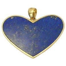 Vintage Estate 14k Gold Retro Lapis HEART Pendant for Necklace