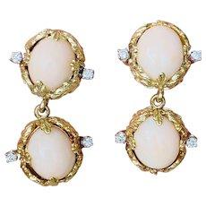 Vintage Estate 14k Free Form La Triomphe Angel Skin Coral Diamond Drop Dangle Earrings