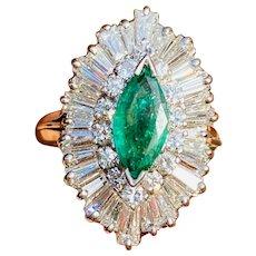 1950s 14k Gold 3.3ct VS Marquise Diamond Baguette Emerald Ballerina Ring Item