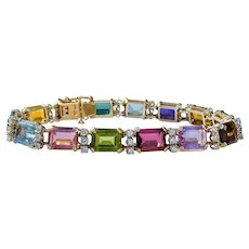 Stunning Vintage Estate 14k Gold Multi 30ctw Gemstone Diamond Bracelet