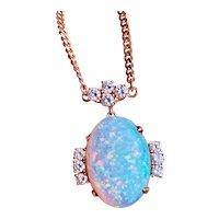 """Vintage Estate 14k Gold Opal Diamond Pendant Necklace 18"""" Chain"""