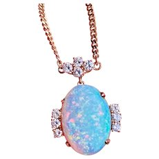 "Vintage Estate 14k Gold Opal Diamond Pendant Necklace 18"" Chain"