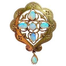 Vintage Retro Estate 14k Gold Opal Gemstone Brooch Pendant for Necklace