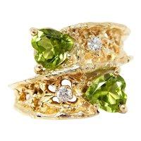 Vintage Retro 1960s Free Form Organic 14k Gold Natural Peridot Diamond Ring