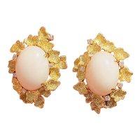 Vintage Estate 14k Gold Angel Skin Coral Diamond Heavy Carved Leaf Earrings