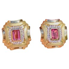 Vintage Estate 14k Gold 3.62ct Pink Tourmaline Diamond Halo Drop Earrings