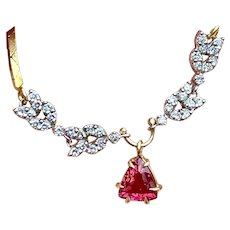 Vintage Estate Retro 14k Gold 2.30ct Pink Tourmaline Trillion Cut Diamond Pendant Necklace