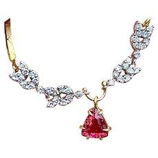 Vintage Estate Retro 14k Gold 2.30ct Pink Tourmaline Trillion Cut Diamond Pendant Necklace