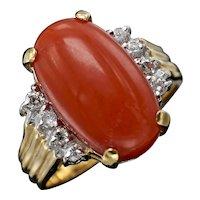 Impressive Vintage Estate 14k Yellow Gold Red Coral E/F VVS Diamond Ring