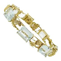 Impressive Art Deco 1940s Vintage Retro 18k Gold 30ct Aquamarine Bracelet