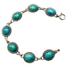Vintage Estate Retro 1950s 14k Turquoise Cabachon Bracelet