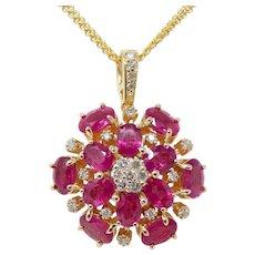 Stunning Vintage 14k Gold Ruby & Diamond Cluster Pendant Choker Necklace