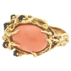 Vintage Heavy 1960s Retro 14k Gold Freeform Salmon Coral Blue Sapphire Cocktail Ring