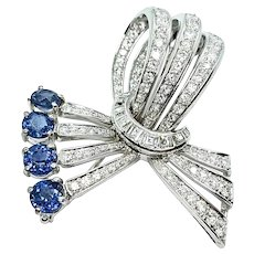 Stunning 18k Gold Vintage 4.85 ct Blue Sapphire Diamond Brooch Pendant Pin