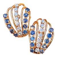 Vintage Retro Estate 14k Gold 6.00ct VS Diamond Blue Sapphire Drop Cluster Earrings