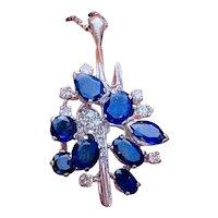 Vintage Estate 14k Gold Blue Sapphire Diamond Necklace Pendant
