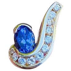 Vintage Estate 14k Gold 1.58ctw Oval Blue Tanzanite Gemstone Diamond Slide Pendant