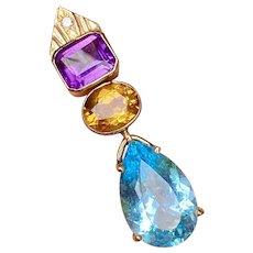 Vintage Estate 17.24ct Citrine Amethyst Blue Topaz Diamond Necklace Slide Pendant