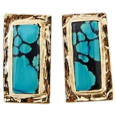 Vintage Estate 1960's /1970's 14k Gold Natural 20ct Turquoise Earrings