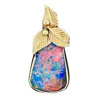 Vintage 14K Yellow Gold Cabochon Handmade Boulder Opal Necklace Pendant Charm