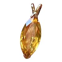 Fine Vintage Retro Estate 14k Gold Marquise Yellow Citrine Pendant for Necklace