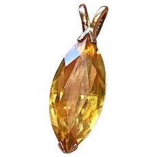 Fine Vintage Retro Estate 14k Gold Marquise Yellow Citrine Pendant for Necklace