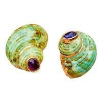 Vintage Estate 14k Gold Maz Style Sage Green Shell Amethyst Gemstone Pierced Earrings, 32mm