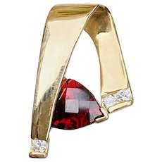 Vintage Estate 1.15ct Genuine Rubellite Diamond Necklace Slide Pendant