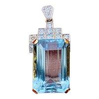 Impressive Vintage Art Deco 14K Gold Platinum 21ct Aquamarine Diamond Pendant for Necklace