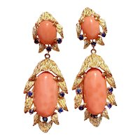 Vintage Estate 14K Gold Heavy Brush Finish Salmon Coral & Blue Sapphire Dangle Drop Earrings