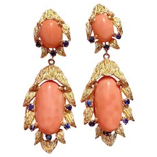 Vintage Estate 14K Gold Heavy Brush Finish Salmon Coral & Blue Sapphire Dangle Drop Earrings