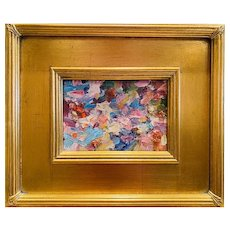 """""""Abstract Impasto Colors"""", Original Oil Painting by artist Sarah Kadlic, 12x14"""" with Black Gilt Leaf Frame"""