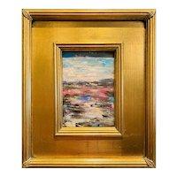 """Abstract Italian Landscape "", Original Oil Painting by artist Sarah Kadlic, 12x14"" Gilt Leaf Framed"