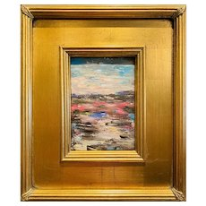 """Abstract Italian Landscape "", Original Oil Painting by artist Sarah Kadlic, 12x14"" Gilt Leaf Framed"