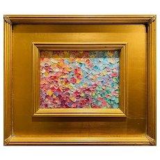"""Abstract Impasto Palette- Autumn"", Original Oil Painting by artist Sarah Kadlic, 14""x12"" Gilt Leaf Framed"