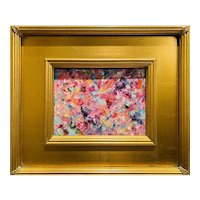 """Abstract Impasto Colorscape"", Original Oil Painting by artist Sarah Kadlic, 14"" Gilt Leaf Wood Framed"