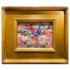 """Abstract Textured Impasto Colors"", Original Oil Painting by artist Sarah Kadlic, 12x14"" Gilt Leaf Wood Framed"