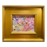 """Abstract Impasto Landscape"", Original Oil Painting by artist Sarah Kadlic, 14"" Gilt Leaf Wood Frame"