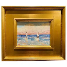 """Abstract Sailboat Seascape"", Original Oil Painting by artist Sarah Kadlic, 14"" x 12"" Gilt Leaf Wood Frame"