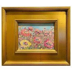 """Abstract Impasto Flowers"", Original Oil Painting by artist Sarah Kadlic, 14""x12"" Gilt Leaf Wood Frame"