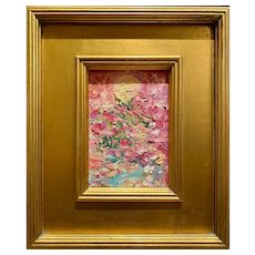 """Abstract Impasto Landscape"", Original Oil Painting by artist Sarah Kadlic, Gilt Framed 12""x14"""