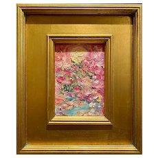 """Abstract Impasto Landscape"", Original Oil Painting by artist Sarah Kadlic, Gilt Framed 12""x14"""