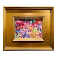 """Abstract Impasto Palette"", Original Oil Painting by artist Sarah Kadlic, 14""x12"" Gilt Leaf Wood Frame"