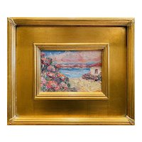 """Abstract Impressionist Seascape "", Original Oil Painting by artist Sarah Kadlic, 12x14"" Gilt Leaf Framed"