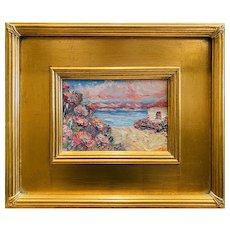 """Abstract Impressionist Seascape "", Original Oil Painting by artist Sarah Kadlic, 12x14"" Gilt Leaf Framed"