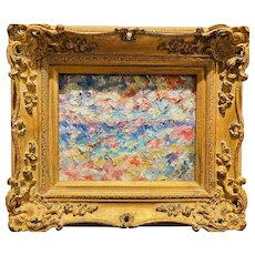 """Abstract Expressionist Impasto Seascape"", Original Oil Painting by artist Sarah Kadlic, 15x13"" Gilt Leaf Framed"